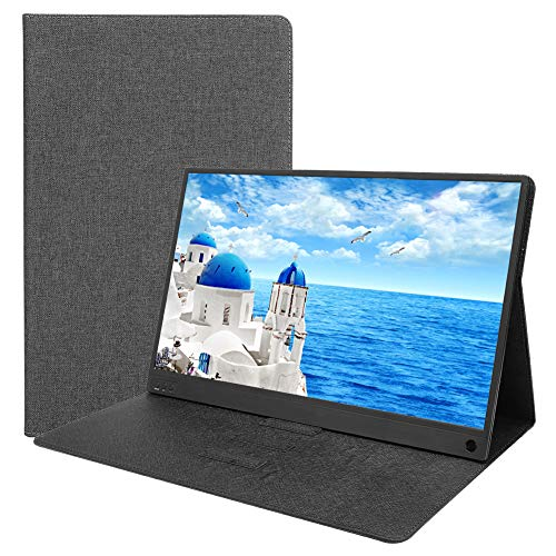 ASHATA draagbare HDMI-monitor met lederen tas, 15,6 inch IPS 1920X1080 16: 9 LED-monitor met HDMI/Type C-interface voor Huawei Matebook voor Xiaomi Book voor Dell XPS en andere USB-C-apparaten