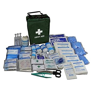 195 Piece Ultimate Comprehensive First Aid Kit in Green Bag - Suitable for Most Medical Emergencies - Dressings, Bandages, Eye Wash, Wipes, Plasters and More by ValueProducts