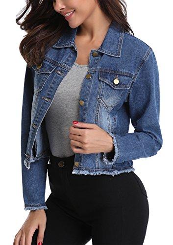 MISS MOLY Damen Jeans Jacke Denim Jacke Boyfriend Stil Beiläufig Outwear Dunkel Blau - L