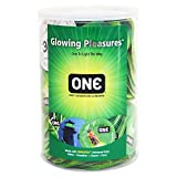 ONE Glowing Pleasures Glow-in-The-Dark Condoms-100 Count Display Bowl