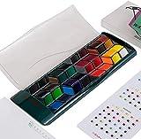 Aquarellfarbe Set mit 36 Premium-Farben, Tragbare Malerei mit Bonusstift, Pinsel für Künstler, Profis, Anfänger (Grün)
