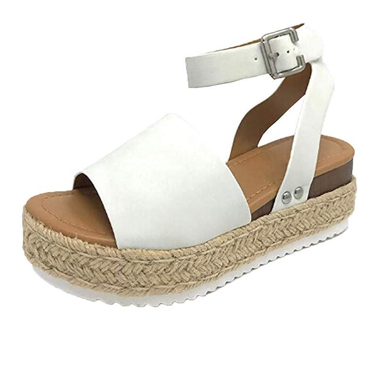 JOYFEEL ?? Women's Wide Band Open Toe Rubber Sole Wedge Sandals Ankle Buckle Strap Espadrilles Trim Platform Shoes ynbdstpr766410