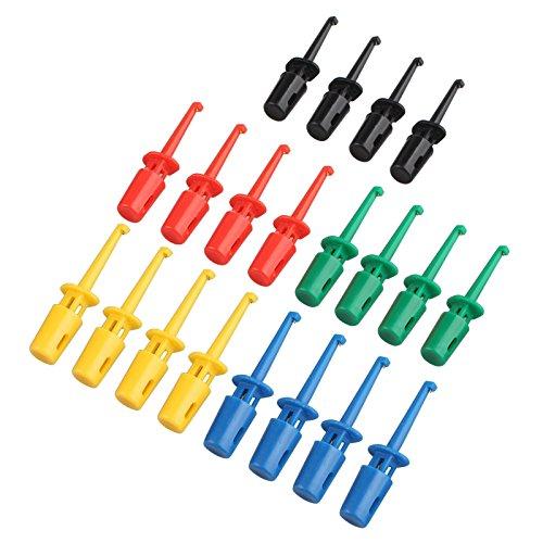 HALJIA Krokodilklemme, 20 Stück, 5 Farben, bunt, elektrische Test-Haken, Messfühler, Kabel für Multimeter, Drahtleitungs-Set