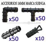Blister de 10 Unidades Negro 4.5x8.5x24 cm S/&M Codo Goteo 16 mm