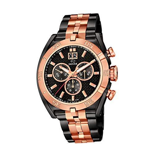JAGUAR Reloj Modelo J811/1 de la colección Special Edition, Caja de 45,8 mm Correa de Acero Negro Rosa para Caballero