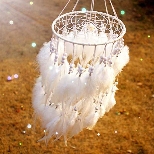 ARHSSZY 100% Handmade Indian Hanging Fluffy White Feather Pearl Lantern Dreamcatcher Wind Chimes Pendant Dream Catcher Wedding Supplies Home Decor Car Pendant (Approx Length 19.6',Dia 9')