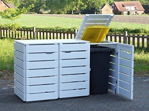 3er Mülltonnenbox / Mülltonnenverkleidung 240 L Holz, Deckend Geölt Weiß - 2