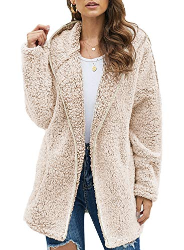 Dokotoo Womens Soft Warm Fleece Oversized Open Front Long Sleeve Casual Solid Plain Fuzzy Fluffy Sherpa Hoodies Cardigans Coats Jackets Outerwear with Pocket Brown Medium