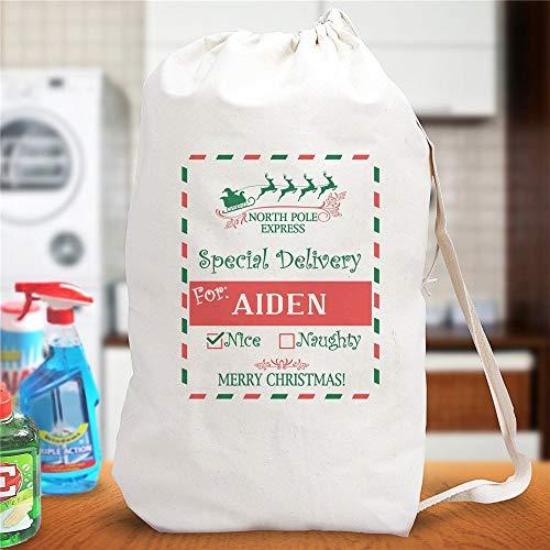 North Pole Express bolsa de lavandería personalizada para regalo de Navidad, bolsa de regalo de Papá Noel, bolsa de juguete personalizada juguetes de Navidad