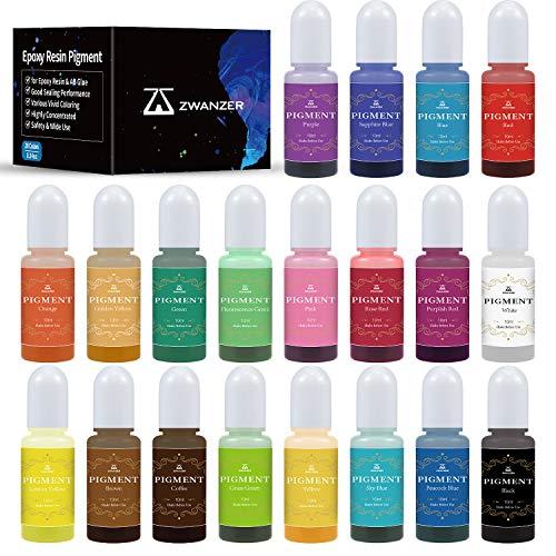 Zwanzer Epoxidharz Farbe Set 20 Colours - Epoxy Resin Farbe Flüssiger Transparenter für Harz Gießen, DIY Schmuckherstellung, Kunsthandwerk - je 10ml