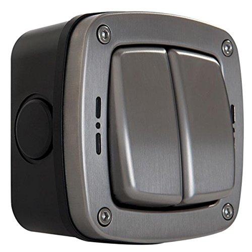 Masterplug WP42 2-Wege-Schalter für den Außenbereich, wetterfest, einpolig, IP66 Gebürsteter Stahl