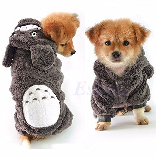 Totoro Hoodie Costume Warm Dog Clothes Pet Jacket Coat Puppy Cat Sweater Apparel (Gray Totoro, M)