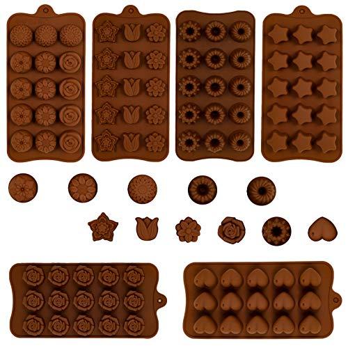 GOTH Perhk 6 Stück Schokoladenform aus Silikon, BPA Frei Verschiedene Backformen für Schokolade, Candy, Gelee, Pralinen, Eiswürfel and Seifen