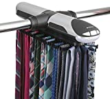 StorageMaid Motorized Tie Rack Organizer for Closet with LED Lights - Battery Operated - Holds 72 Ties and 8 Belts - Includes J Hooks for Wire Shelving - Bonus Tie Travel Pouch & Tie Clip