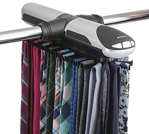 StorageMaid Motorized Tie Rack Organizer for Closet with LED Lights - Battery Operated - Holds 72 Ties and 8 Belts - Includes J Hooks for Wire Shelving - Bonus Tie Travel Pouch Tie Clip