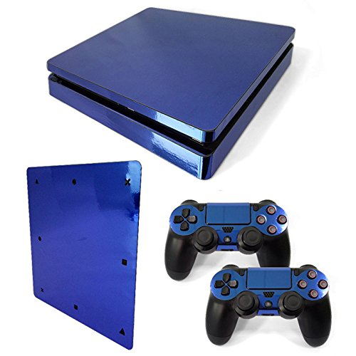 Gam3Gear Vinyl Decal Protective Skin Cover Sticker for PS4 Slim Console & Controller (NOT for PS4 or PS4 Pro) - Blue Glossy