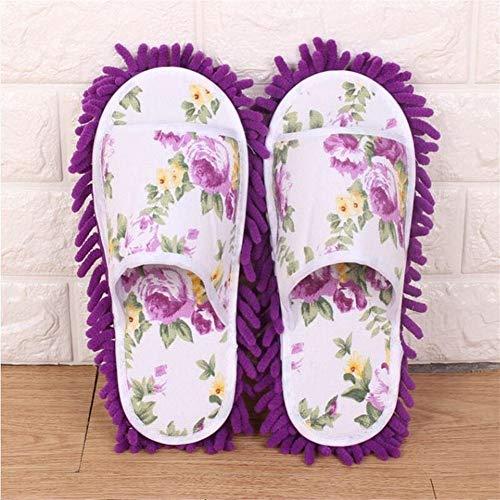 ASDFGH Vloerreiniging pantoffels microvezel mop reiniging schoenen luifel dames stof pantoffels startskant slaapkamer badkamer schoenen