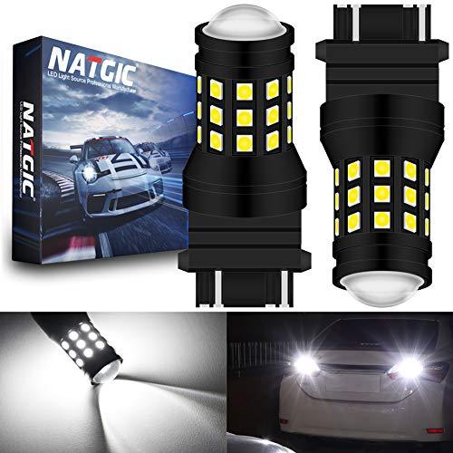 NATGIC 3157 3057 3155 3156 Ampoule LED Blanc Xenon 2700LM 6500K 3030 27SMD avec Objectif Projecteur pour feu Stop Feu de recul Feu de Jour Feux de Jour 12V-24V (Paquet de 2)