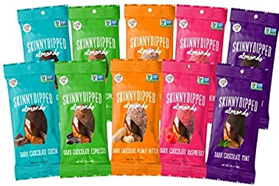 SKINNYDIPPED ALMONDS All Flavors Variety Pack, Includes Dark Chocolate Cocoa, Peanut Butter, Espresso, Mint & Raspberry Covered Almonds, 1.5oz Bags, 10 Count