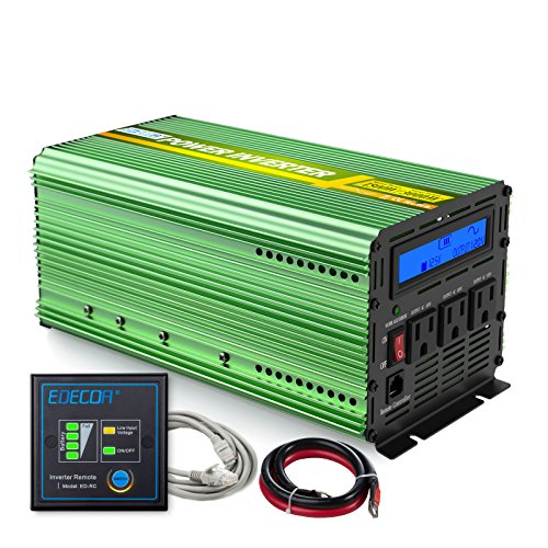 EDECOA 1500W Peak 3000W Pure Sine Wave Power Inverter DC 12V to 110V AC with LCD Display and Remote Controller