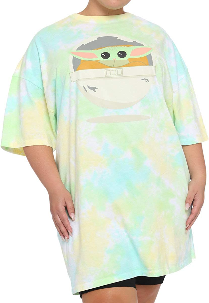 Star Wars The Mandalorian The Child Tie-Dye Girls Dorm Shirt Plus Size Green