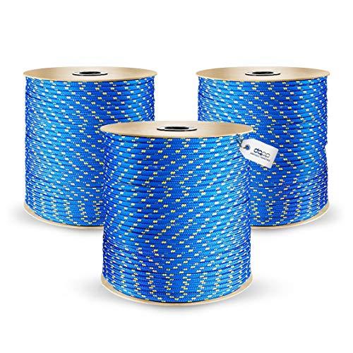DQ-PP POLYPROPYLENSEIL | 8mm | 50m | BLAU Polypropylen Seil | Tauwerk PP Flechtleine Textilseil Reepschnur Leine Schnur Festmacher Rope Kordel Kunststoffseil Kletterseil geflochten
