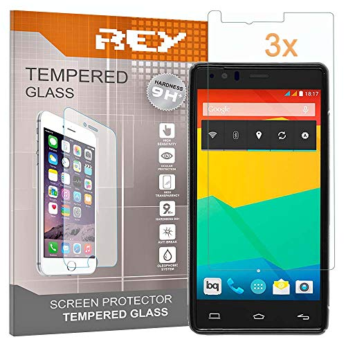 REY 3X Protector de Pantalla para BQ AQUARIS E5 / HD / 4G / E5s / FHD / 4G, Cristal Vidrio Templado Premium