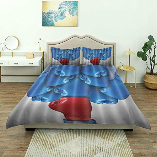 Yaoni Duvet Cover,Red Blue Boxing, Bedding Set Comfy Lightweight Microfiber