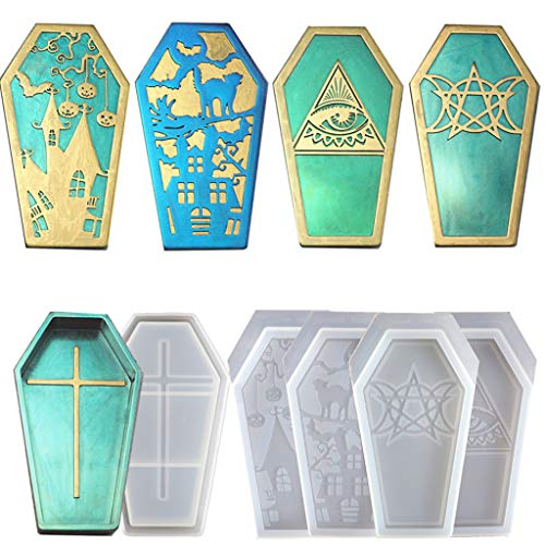 Yunnan 4 Style Halloween Coffin Box Molds Silicone Molds Storage Box Desk Ornament Jewelry Casting Molds for Jewelry Making DIY Crafts Arts