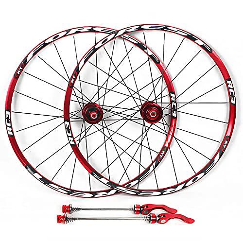 Mountain Bike Wheelset, MTB Bicicleta Frente Rueda Trasera Doble Whule Wheelset Sellado COVERSIÓN DE RODAMIENTO REMÁMICO ROM Rojo Negro Rojo,27.5 Inch
