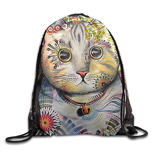 fengxutongxue Smokey Abstract Cat Art Drawstring Backpack Travel Bag Gym Outdoor Sports Portable Drawstring Beam Port Backpack for Girl Boys Woman Female