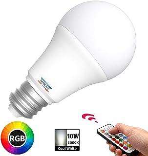 VARICART E27 10W Bombilla LED Edison Tornillo, RGB + Blanco Frío 6000K, Regulable 12 Cambios Color + 5 Modos, Memoria Integrada con Mando, 75W~100W Equiv. Globo para Diario y Ambiental (Pack de 1)