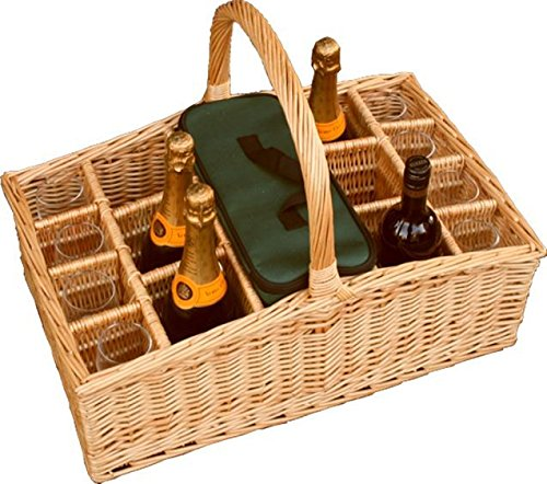 Red Hamper Wicker Willow Large Drinks Basket Carrier