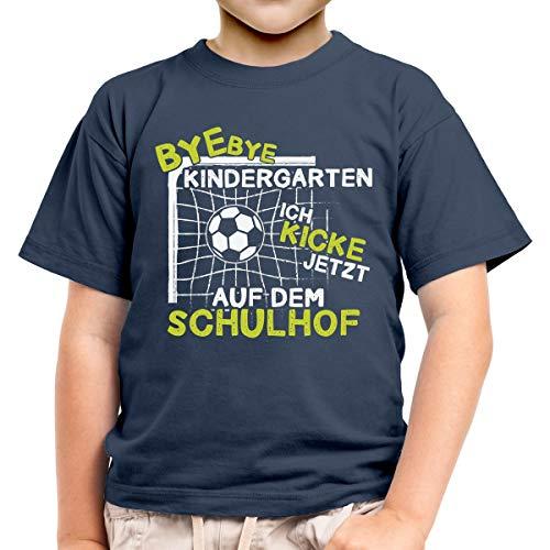 Fussball Einschulung Junge Kinder T-Shirt Geschenk Schulanfang 128 Marineblau