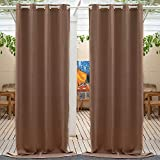 Anjee Outdoor Curtains 84 inches Length Waterproof and Light Blocking Blackout Patio Drapes, Thermal Insulated Grommet Top Outdoor Curtain for Porch Patio Gazebos Pergola Pool (1 Panel, 52 Inch Wide)