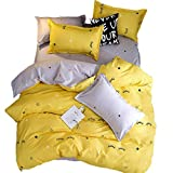 Sookie Yellow Bedding 3 Piece Eyelash Curved Duvet Cover and Pillow Shams Bedding Set, Soft and Comfortable Graceful Reversible Durable (Full/Queen Size,Yellow)
