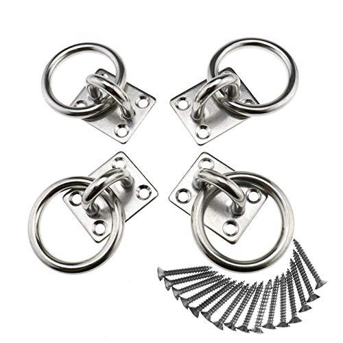 Biym - Lote de 4 ganchos de acero inoxidable de 8 mm