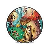 ART VVIES Reloj de Pared Redondo de 9,5 Pulgadas Que no Hace tictac silencioso Funciona con Pilas Oficina Cocina Dormitorio decoración del hogar-casa de Setas Rojas
