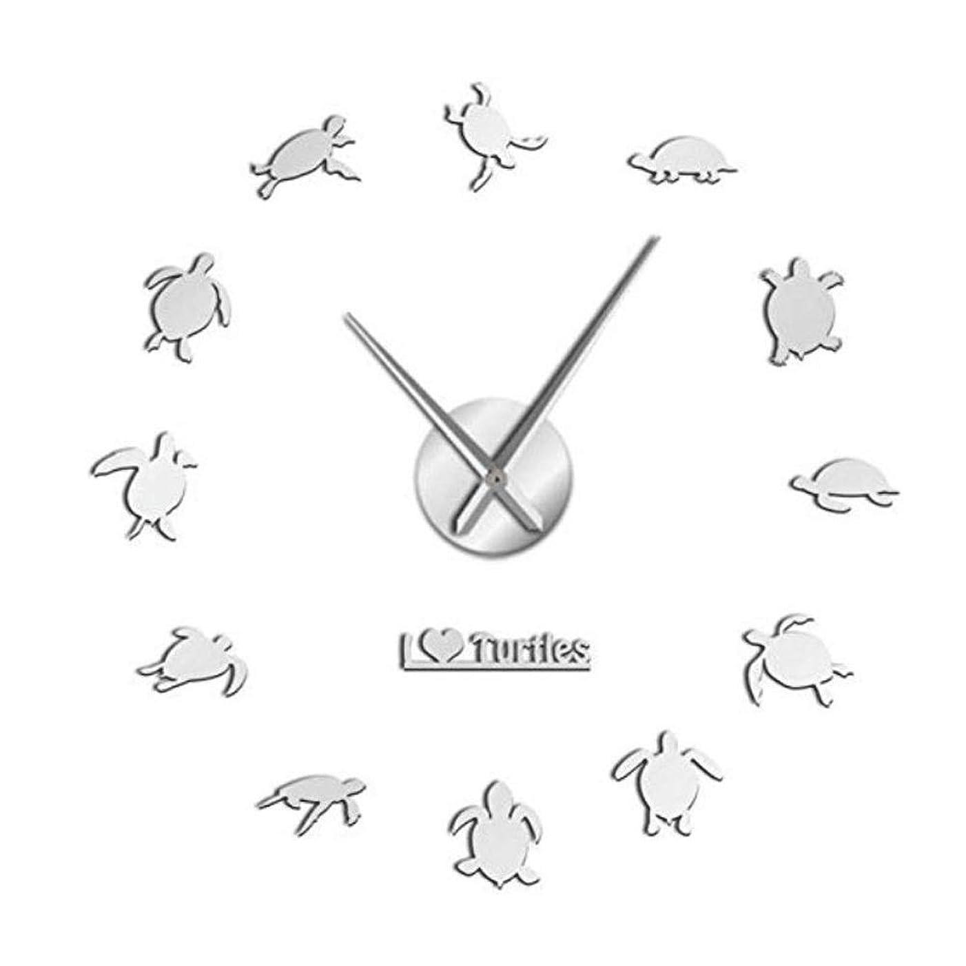 サーバ視力一貫性のない掛け時計 DIYウォールクロックラウンド装飾時計アクリルリビングルームクォーツ時計 装飾時計 リビングルームのベッドルーム チャン?ミンM (Color : Silver)