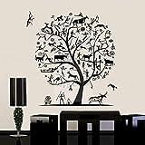 Animales elementos árbol pared arte calcomanía antigua forma de vida etiqueta de la pared decoración del hogar ganado ovejas papel tapiz árbol arte A2 60x57cm