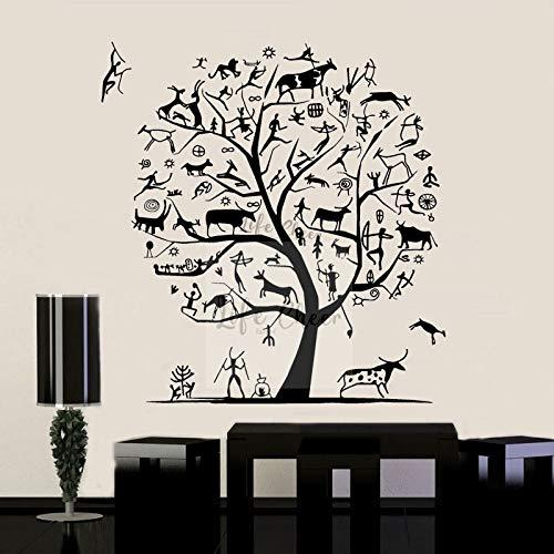 Animales elementos árbol pared arte calcomanía antigua forma de vida etiqueta de la pared decoración del hogar ganado ovejas papel tapiz árbol arte A1 44x42cm