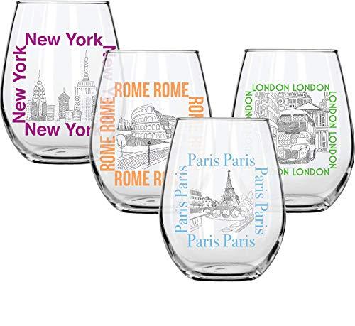 Circleware Voyagers Stiellose Weingläser, 4 Stück Trinkgläser für Wasser, Saft, Bier, Likör und meistverkaufte Küche & Home Decor Bar Dining Getränke, 535 ml