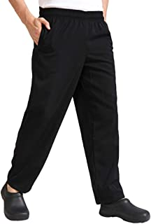 FENICAL Breathable Durable Chefs Workwear Trousers for Men- Size XXXL (Black)