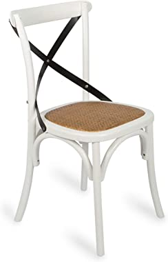 Boho Traders Back Chair with Solid Rattan Seat, White