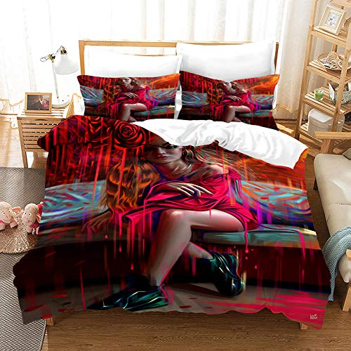 BEDSERG Duvet Cover Set 3D Printed Red anime woman Double 78.74 x 78.74 inch Bedding Duvet Cover Set with Zipper Closure for Kids Boys Teen Soft Microfiber
