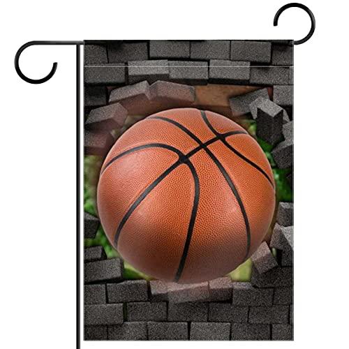 Bandera de jardín, decoración de césped, decoración de patio, decoración de granja al aire libre, banderines de baloncesto y pared de ladrillo, bandera de doble cara