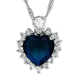 """[Size and weight]: 19mm(0.7"""") x 23mm(0.9""""). Weight is 8gram [Metal and Gemstones]: Environmentally friendly brass (NICKEL FREE) with 18K White Gold Plated. Blue Sapphire Colour (September Birthstone) are used. Main gemstone size is 12mm x 12mm x 1 [D..."""