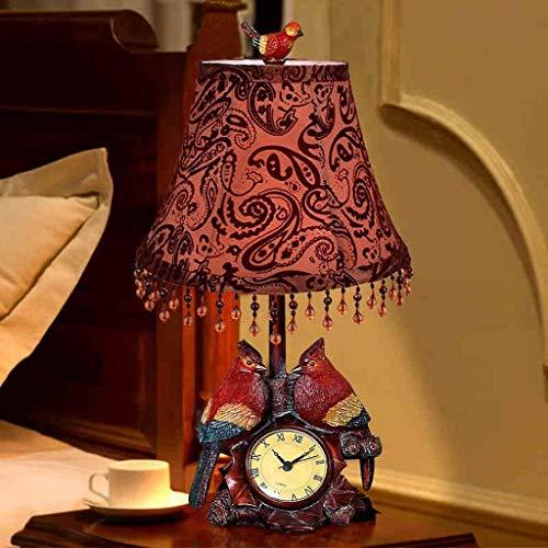 WEI-LUONG Lámparas de mesa, personalidad simple Europea jardín de estilo moderno creativo pájaro de la resina de la lámpara, dormitorio luces lámpara de cabecera, retro reloj decorativo luz de la noch