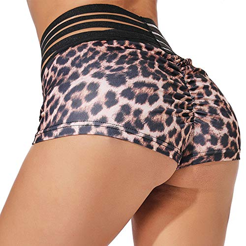 YOFIT Womens Ruched Butt Lifting Gym Shorts High Waisted Booty Yoga Shorts Workout Running Twerking Daisy Dukes Shorts #4 Leopard S