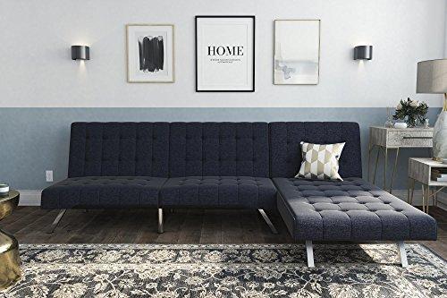 DHP Emily Stylish Chaise Lounge Sofa Linen Chrome Legs